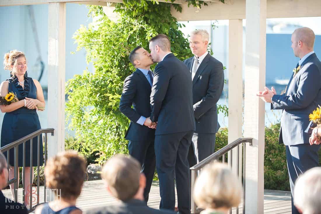 Oswego, NY wedding kiss