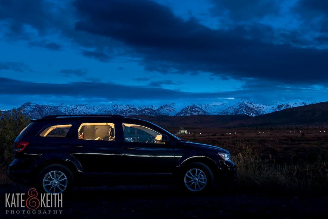 Rental car camping Alaska mountains