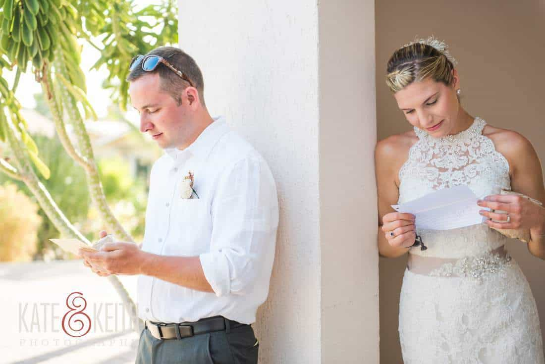 Bride and groom read letters