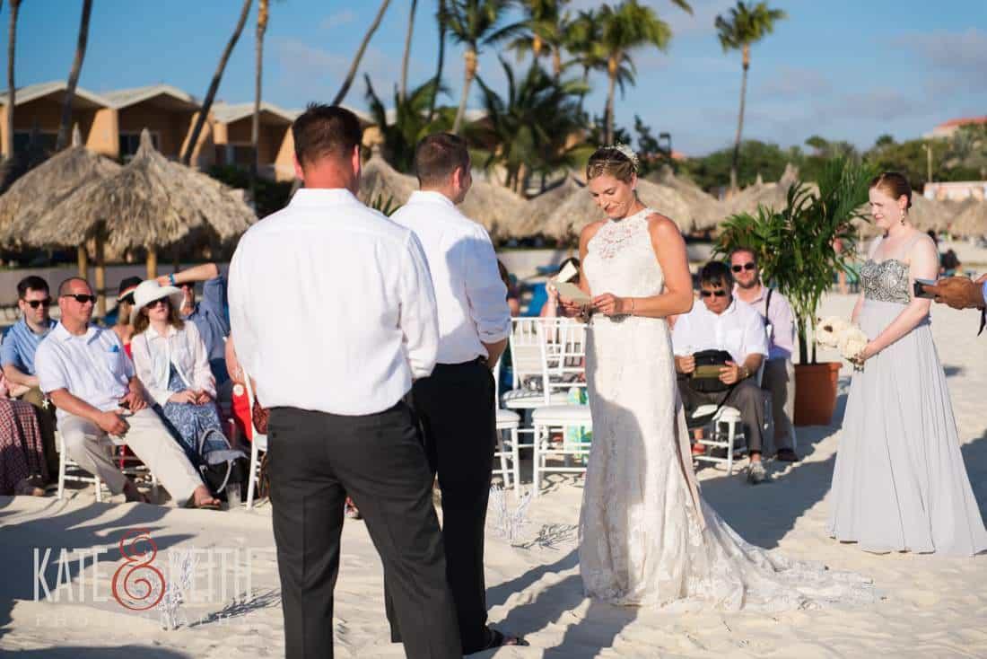 Bride Caribbean beach wedding ceremony