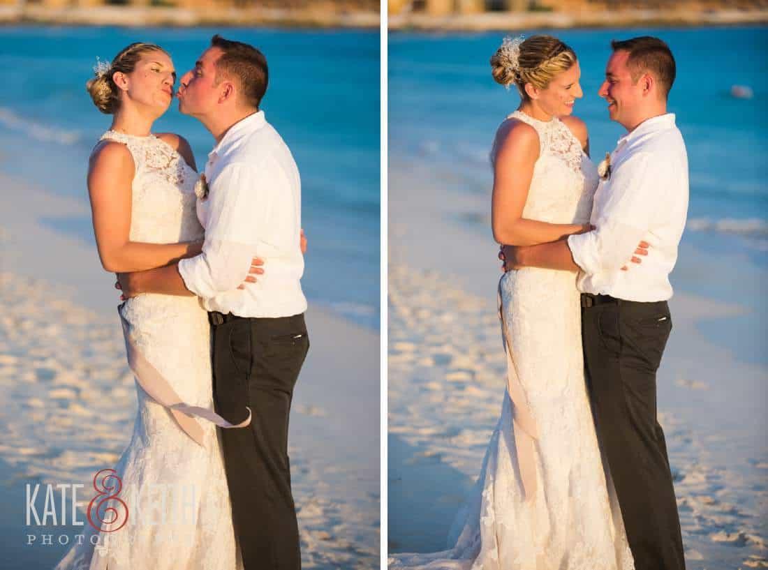 Caribbean Wedding Bride and Groom Aruba Ocean Kiss