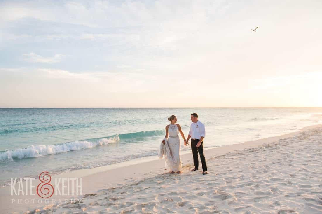 Caribbean Wedding Bride and Groom Beach Sunset Ocean