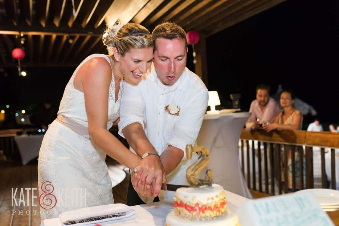 Caribbean Wedding Cake Cutting