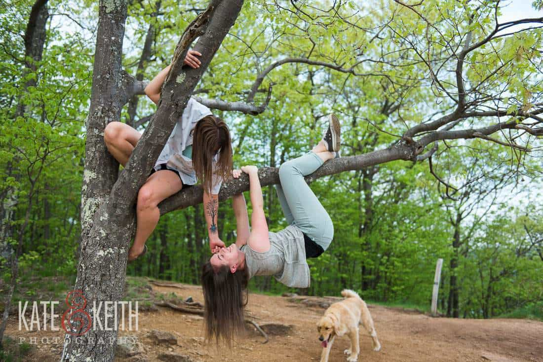 Two Girls Engagement Photo outdoors tree