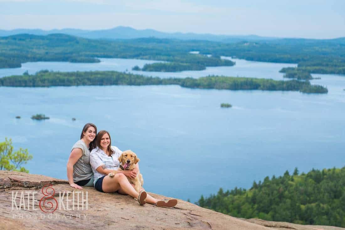 Lesbian Engagement Photo dog mountain