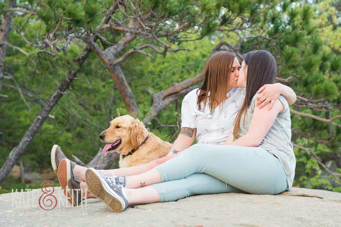dog friendly natural lesbian engagement portrait NH