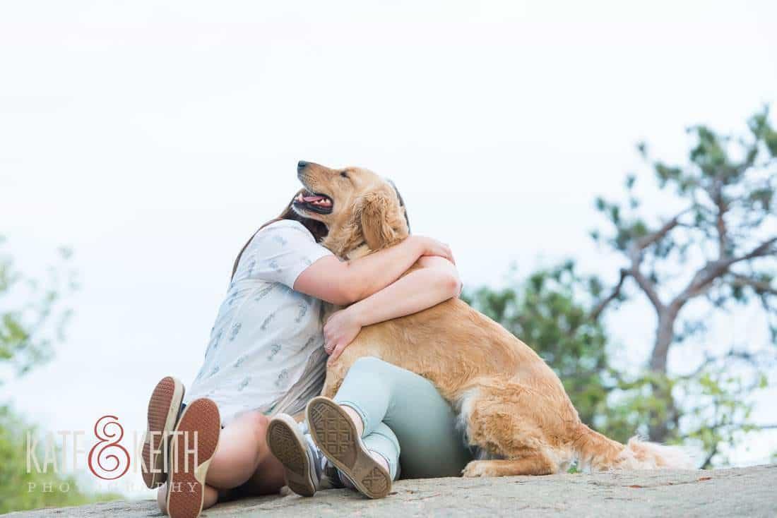 dog friendly photojournalistic lesbian engagement portrait NH