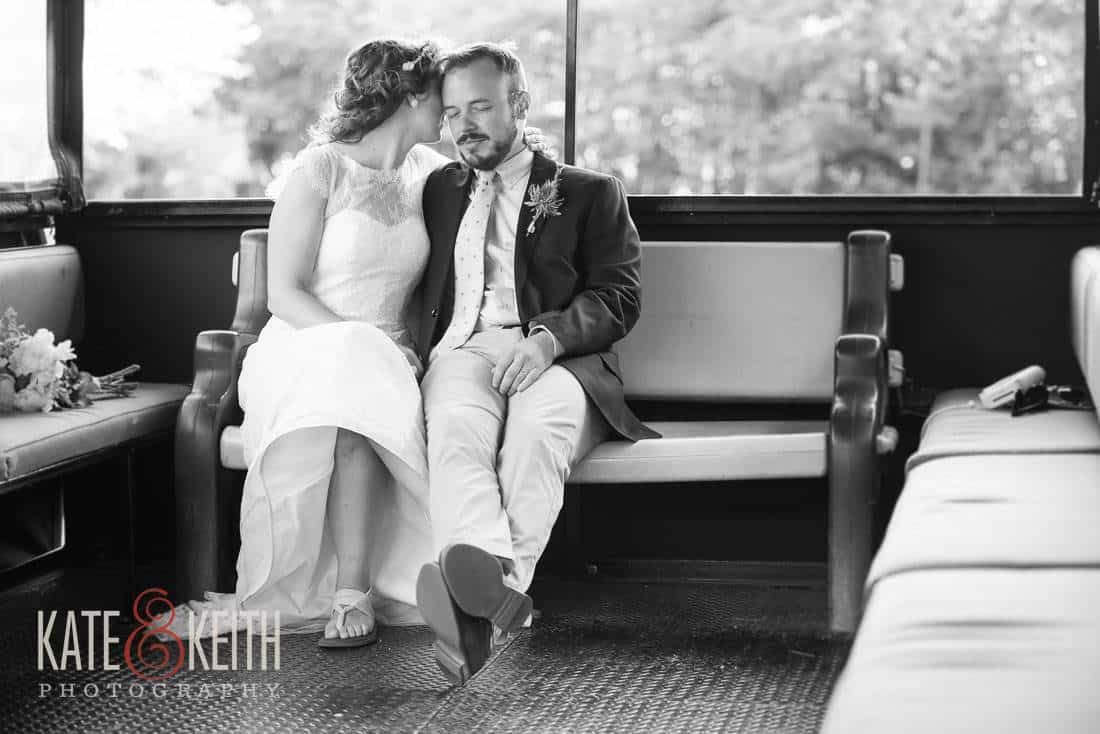 Bride and Groom on trolley Waterville Valley