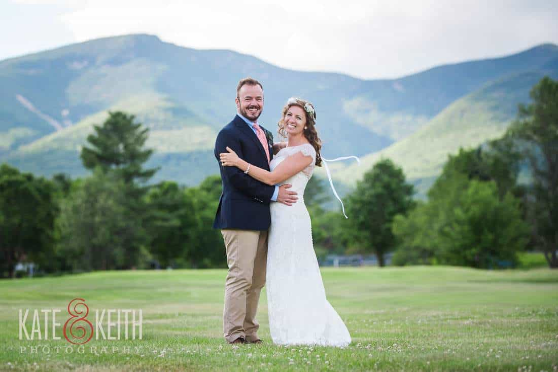 Bride and Groom on golf course Waterville Valley