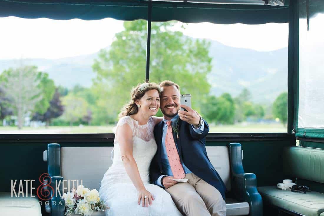 Bride and Groom selfie Waterville Valley