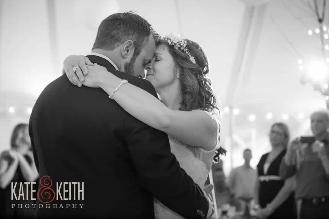 Bride and Groom dance in tent Waterville Valley