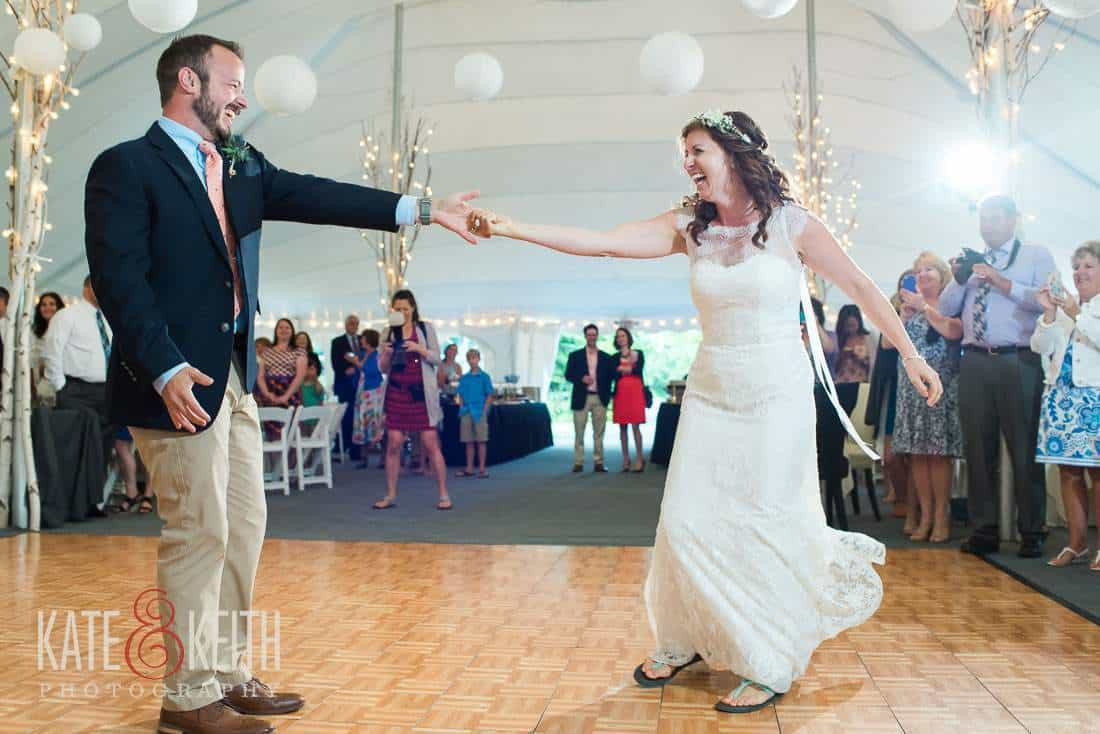 Bride and Groom first dance in tent Waterville Valley