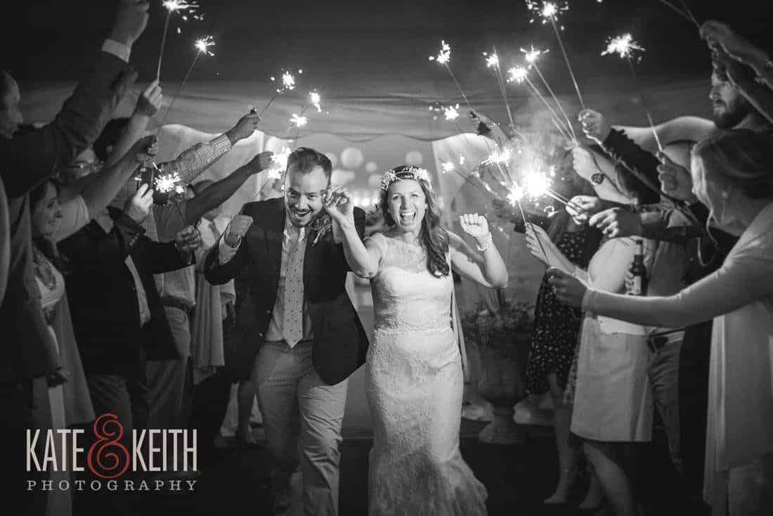 Bride and Groom sparkler exit Waterville Valley
