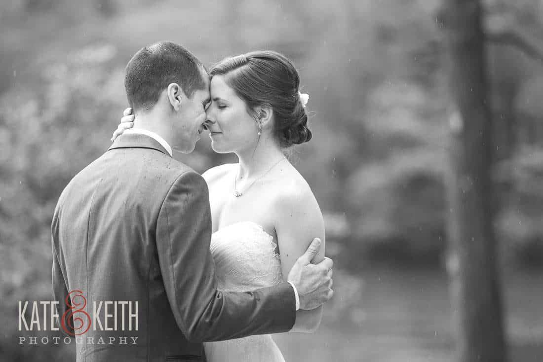 Squam Lake Wedding Bride Groom Rain black and white