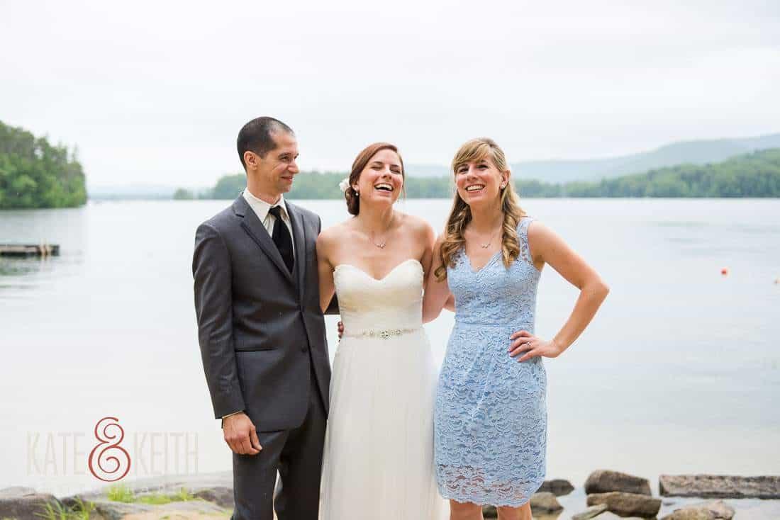 Squam Lake Bride Groom Portraits Sister