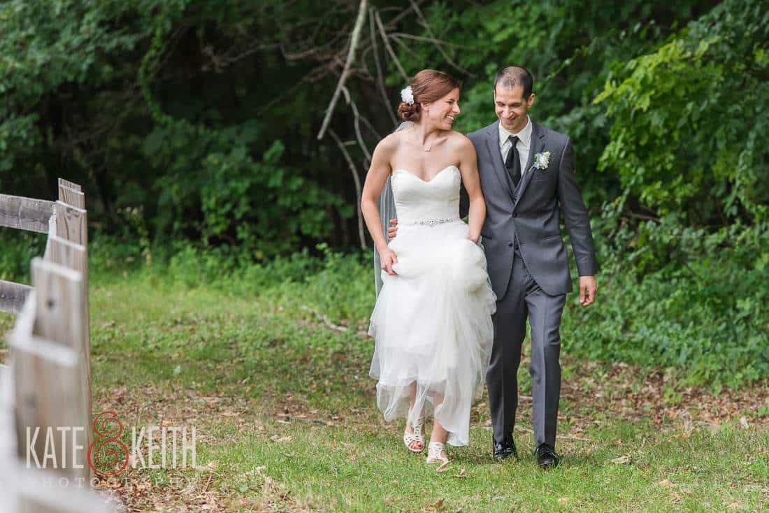 Bride Groom Walking Farm Wedding
