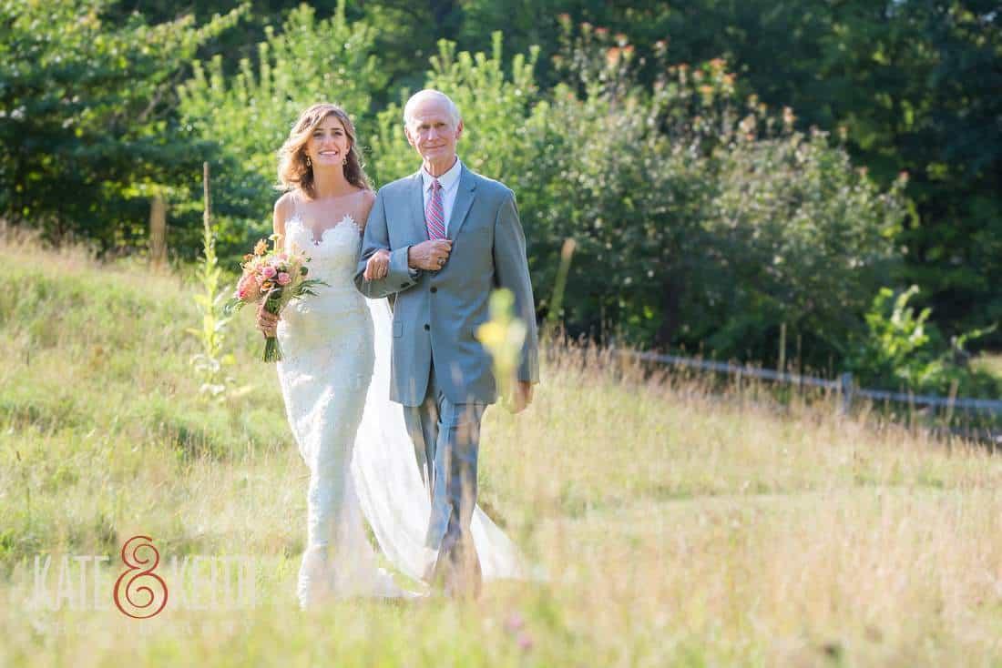 Casual Field Wedding Bride Father