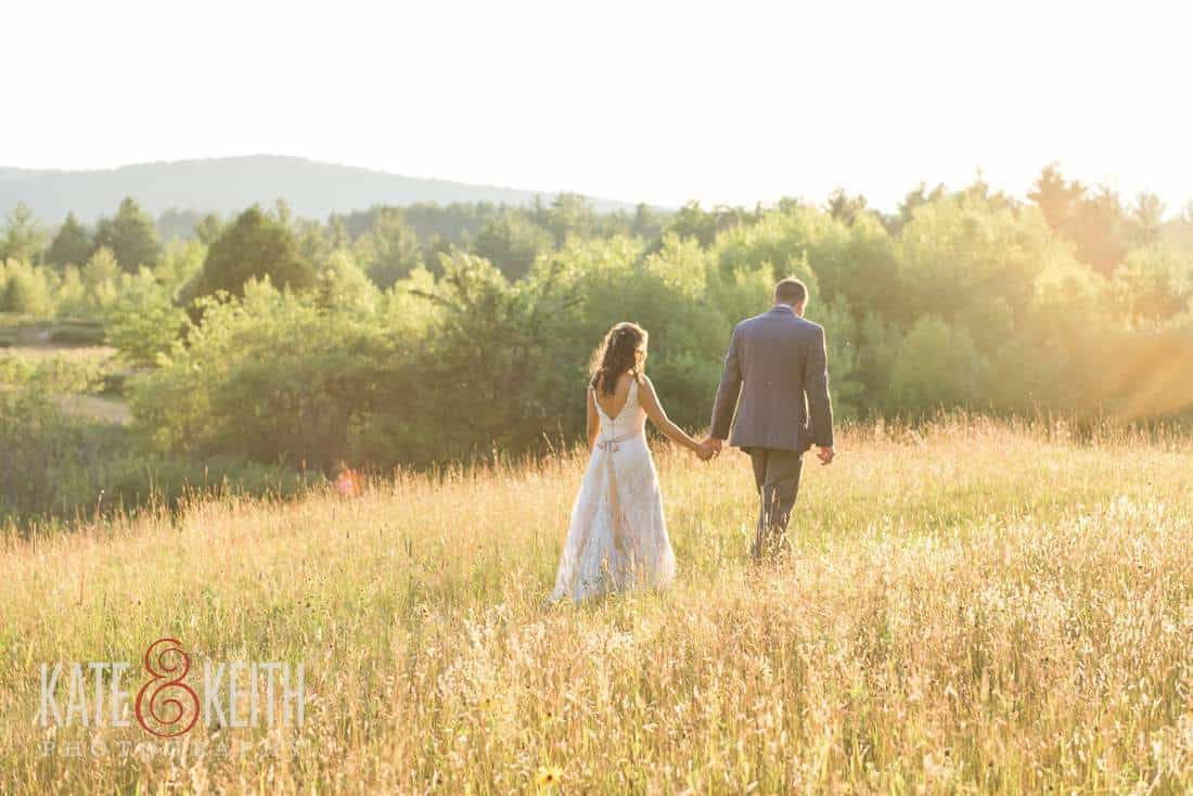 Bride and Groom in Maine field