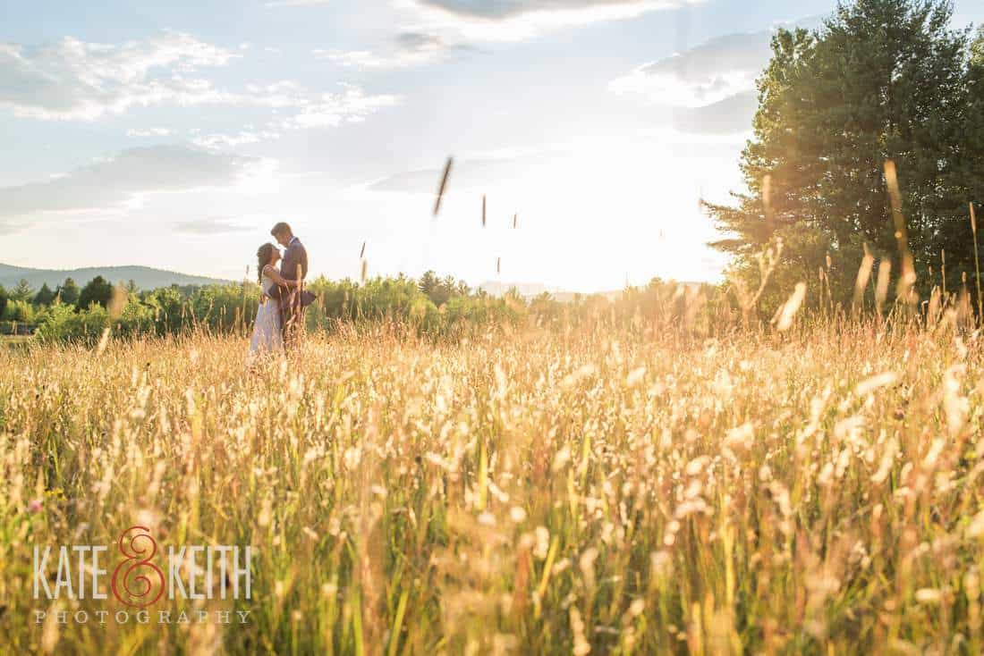 Bride and Groom in Maine field sunset wedding photography