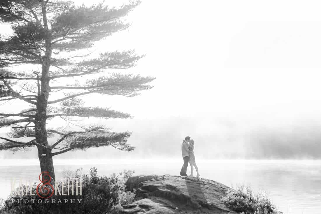 Foggy Acadia National Park Engagement Pictures