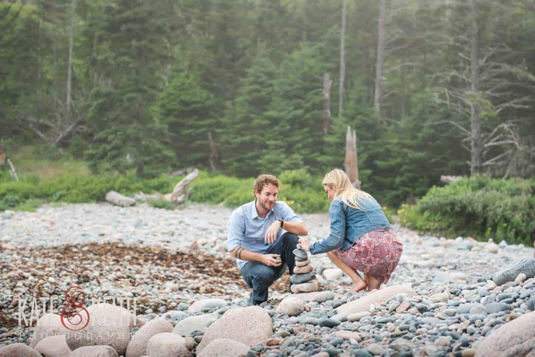 Acadia National Park Hunters Beach Engagement Photos