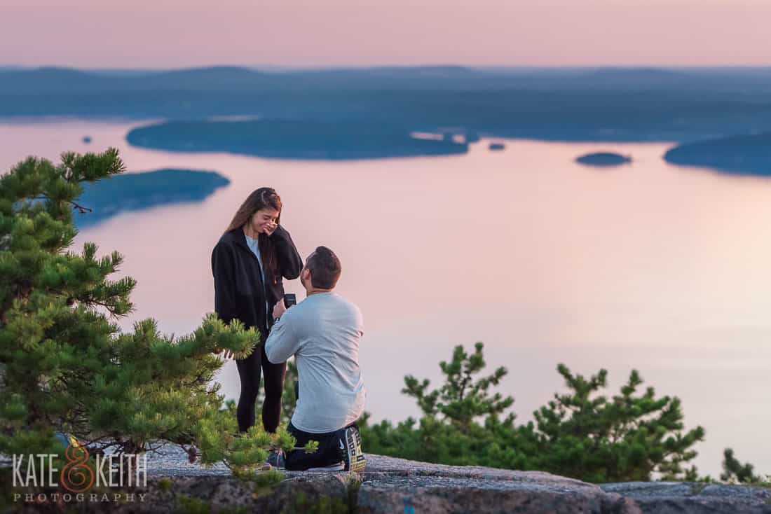 adventure wedding photographers, surprise sunrise Acadia proposal, Acadia National Park, Mount Desert Island, Maine, New England engagement