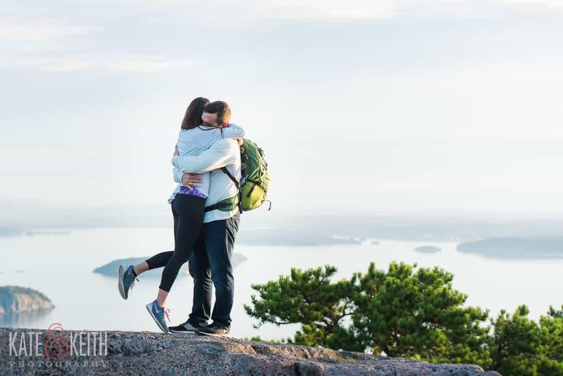 Mountain Top Acadia National Park Engagement Photos