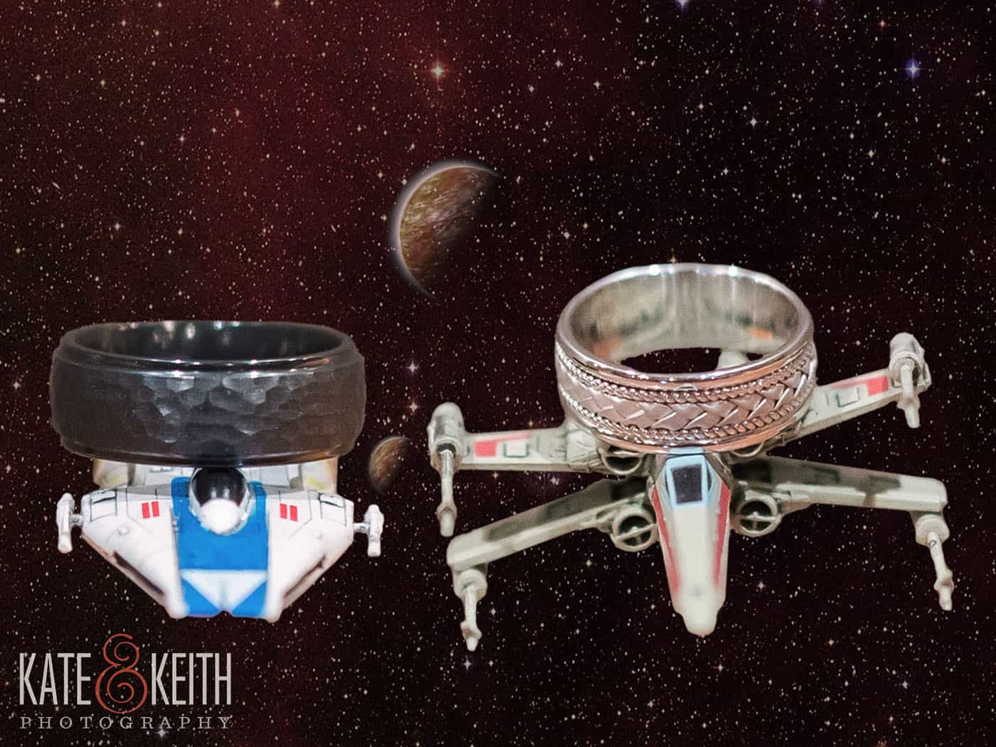 Wedding rings placed on Star Wars space ships