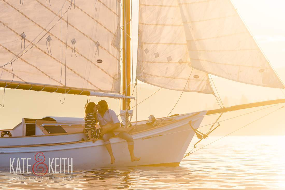 adventurous couple, sailing, sunset sailing photos, engagement photos, Mount Desert Island, Bar Harbor, Maine, New England