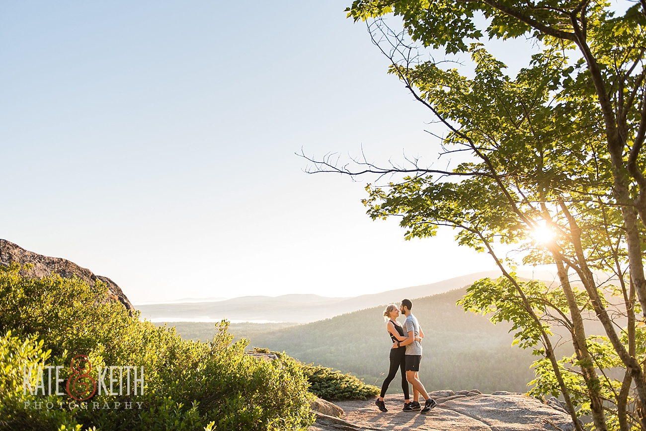 adventure couple, hiking, Acadia National Park, sunrise, outdoor couple, Maine