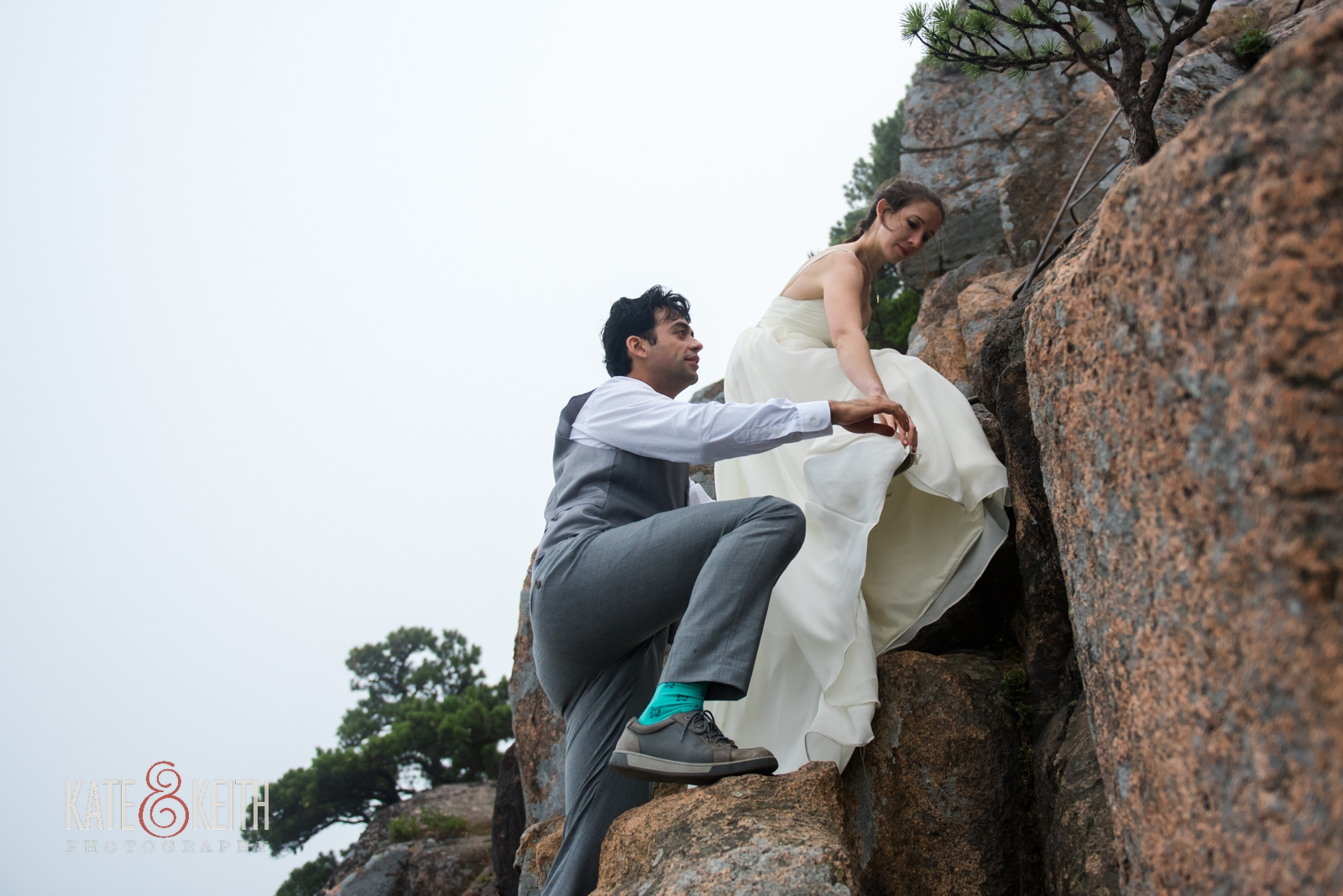 Bride and groom hiking in wedding attire, adventurous couple, adventure wedding, Beehive Trail, Acadia National Park
