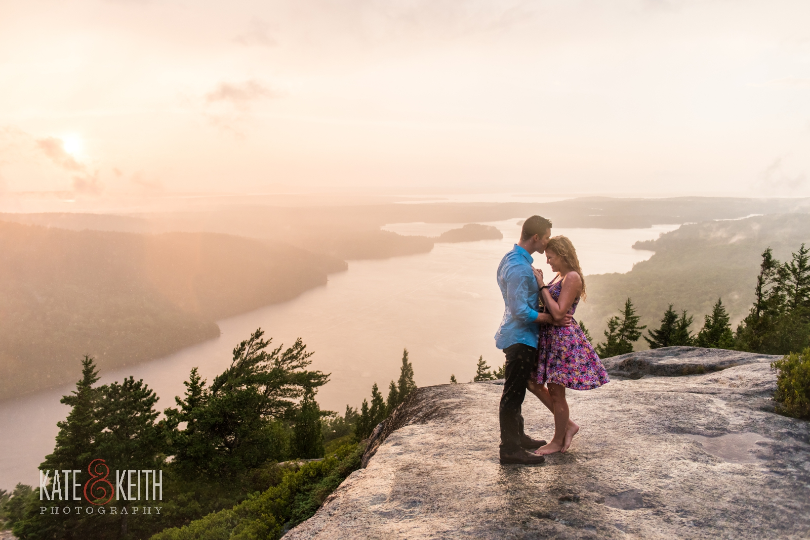 adventure wedding photographers, surprise sunset proposal, Acadia National Park, rain, rainstorm, rainy photo session, rainy engagement photos