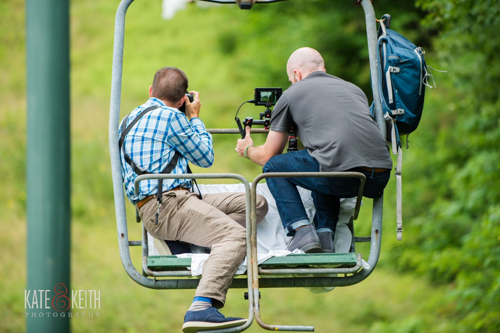 adventure wedding photographers, chairlift, portraits, Waterville Valley, ski wedding, Maine wedding photographer