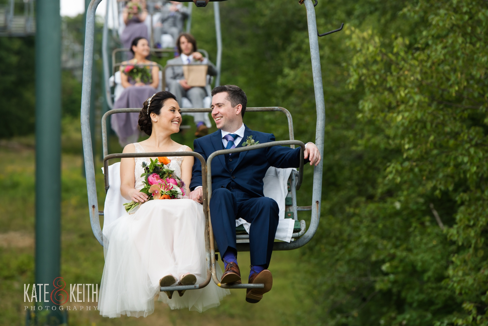 adventure wedding photographers, Waterville Valley, ski resort wedding, adventurous couple, fun couple, wedding day, chairlift, portraits