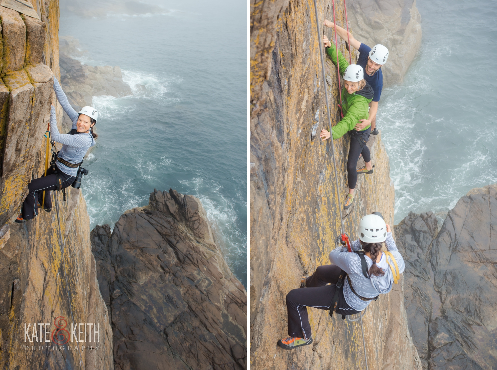 adventure wedding photographers, Otter Cliffs, Acadia National Park, rock climbing, adventurous couple, anniversary portrait session, adventure photography
