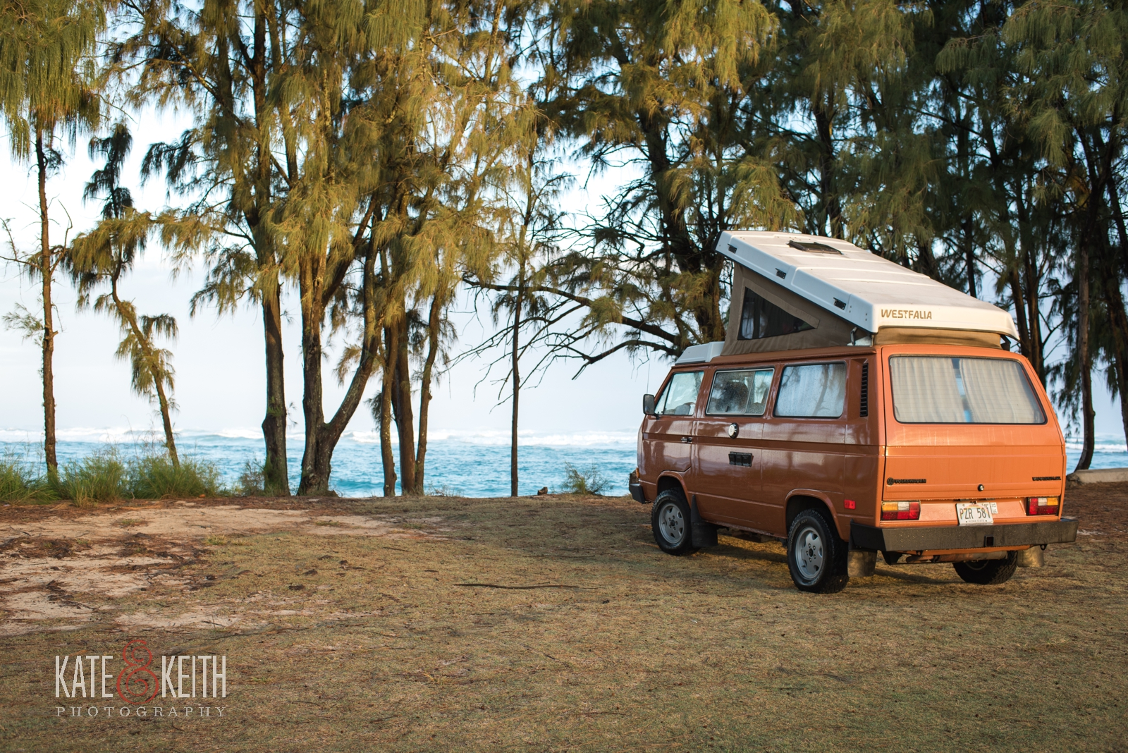 adventure wedding photographers, destination wedding, Oahu, Hawaii, van life, Westfalia, Westy, pop top van, camper van, beach adventure