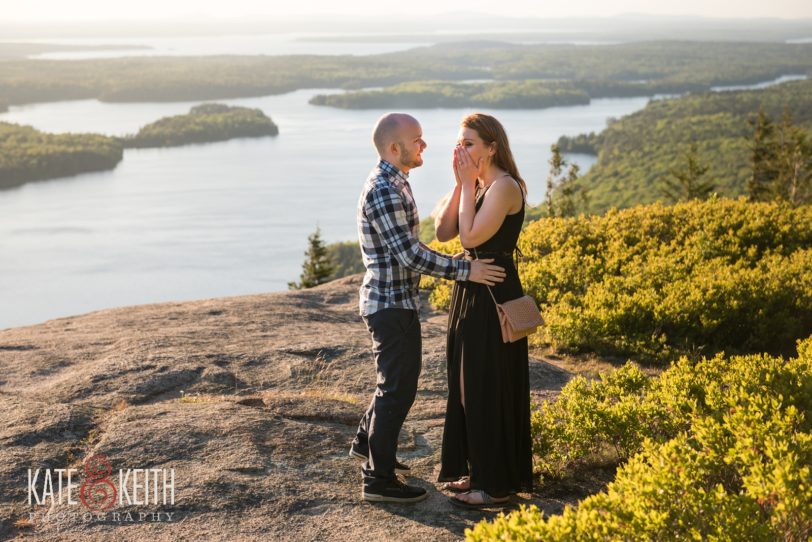 Acadia National Park, marriage proposal, engagement, engaged, wedding proposal, sunset, summer, summertime, Mount Desert Island, MDI