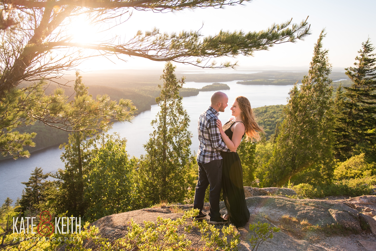 Acadia National Park, surprise propose, surprise engagement, Mount Desert Island, MDI, marriage proposal, engagement, engaged, wedding proposal, sunset, summer, summertime, engagement photos