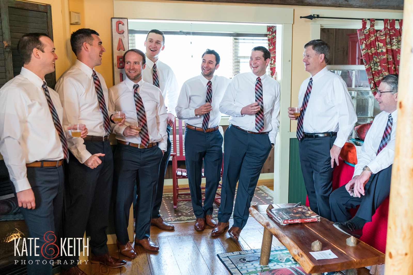 Barn at the Pemi wedding, groom with groomsmen, getting ready, matching ties, unique wedding tie, fun groomsmen, navy suits