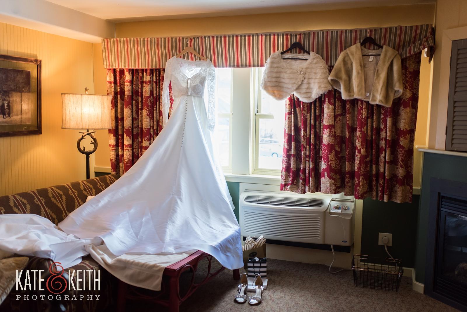 Barn on the Pemi, Your Dream Bridal, Winter wedding, wedding gown, fur cape, fur wrap, lace wedding gown, long sleeved wedding gown, winter wedding dress