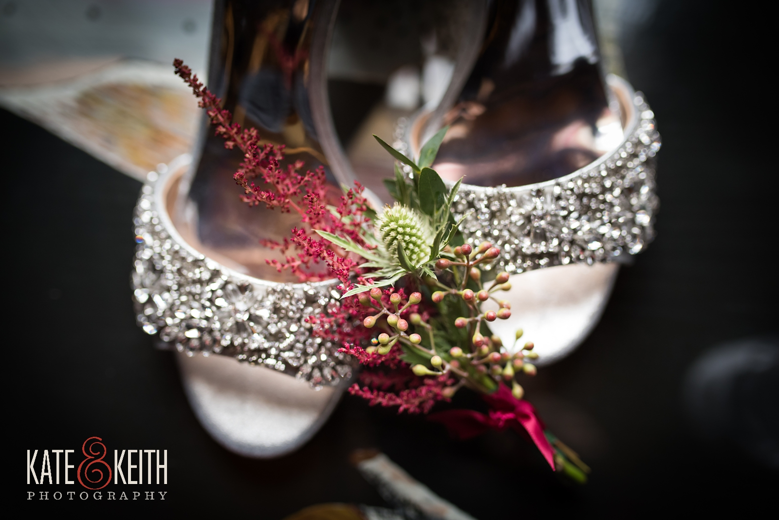 Barn at the Pemi wedding, New Hampshire, Badly Mischka shoes, wedding details, wedding shoes, corsage, thistle corsage, winter wedding, bridal details