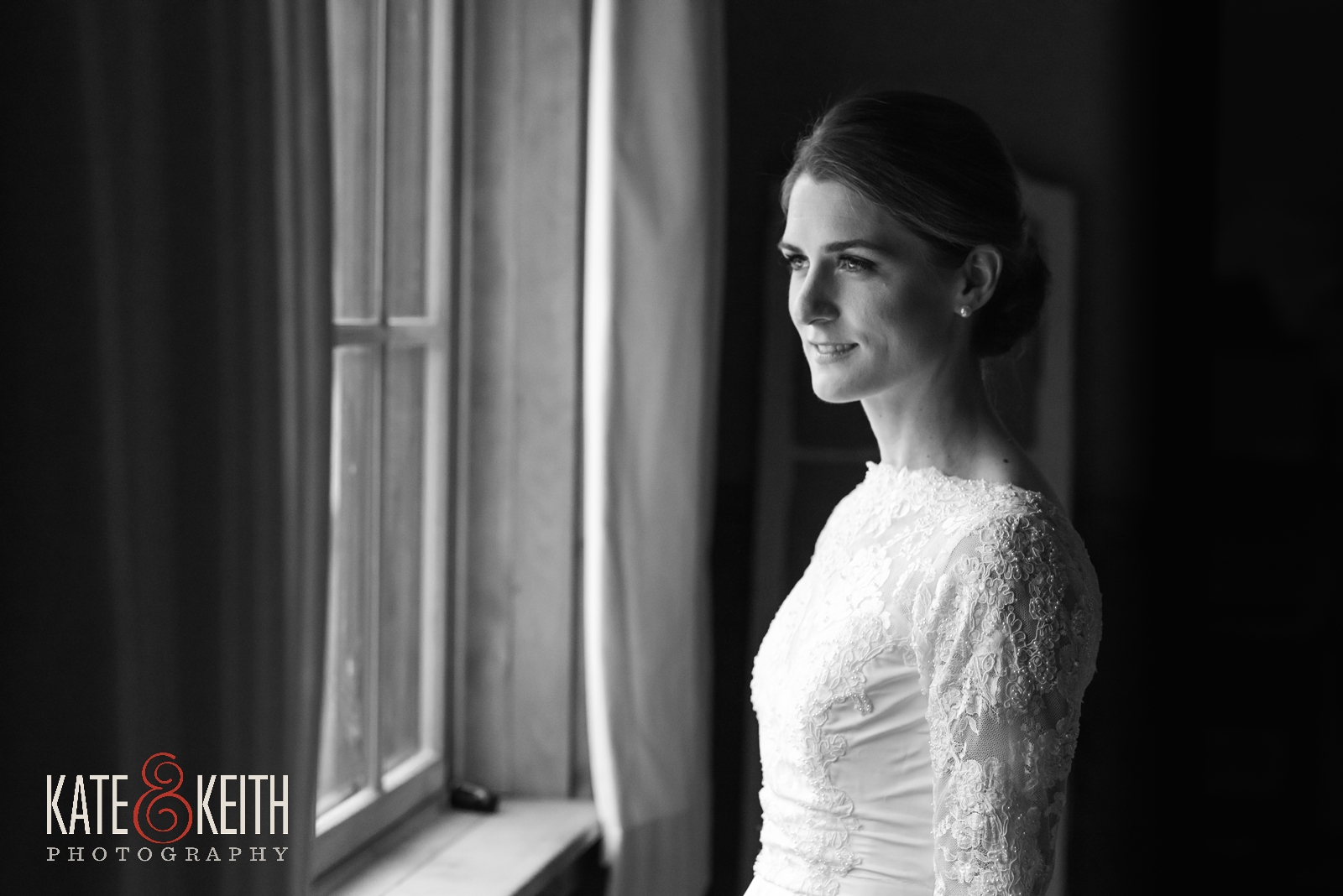 Barn on the Pemi, Your Dream Bridal shop, Bliss Studios makeup, bridal portrait, black and white, bride, lace wedding gown, winter wedding, long sleeved wedding gown, natural portraits, candid portraiture, real moment