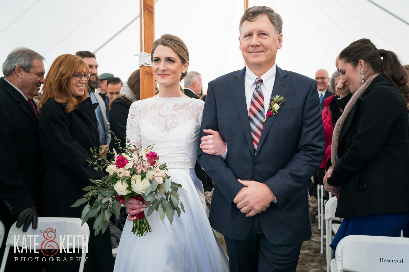 Boathouse Blooms florist, Your Dreams Bridal shop, Men's Warehouse, Joseph Abud, winter wedding, tented ceremony, New Hampshire wedding, Barn on the Pemi, wedding ceremony, bride with father, processional