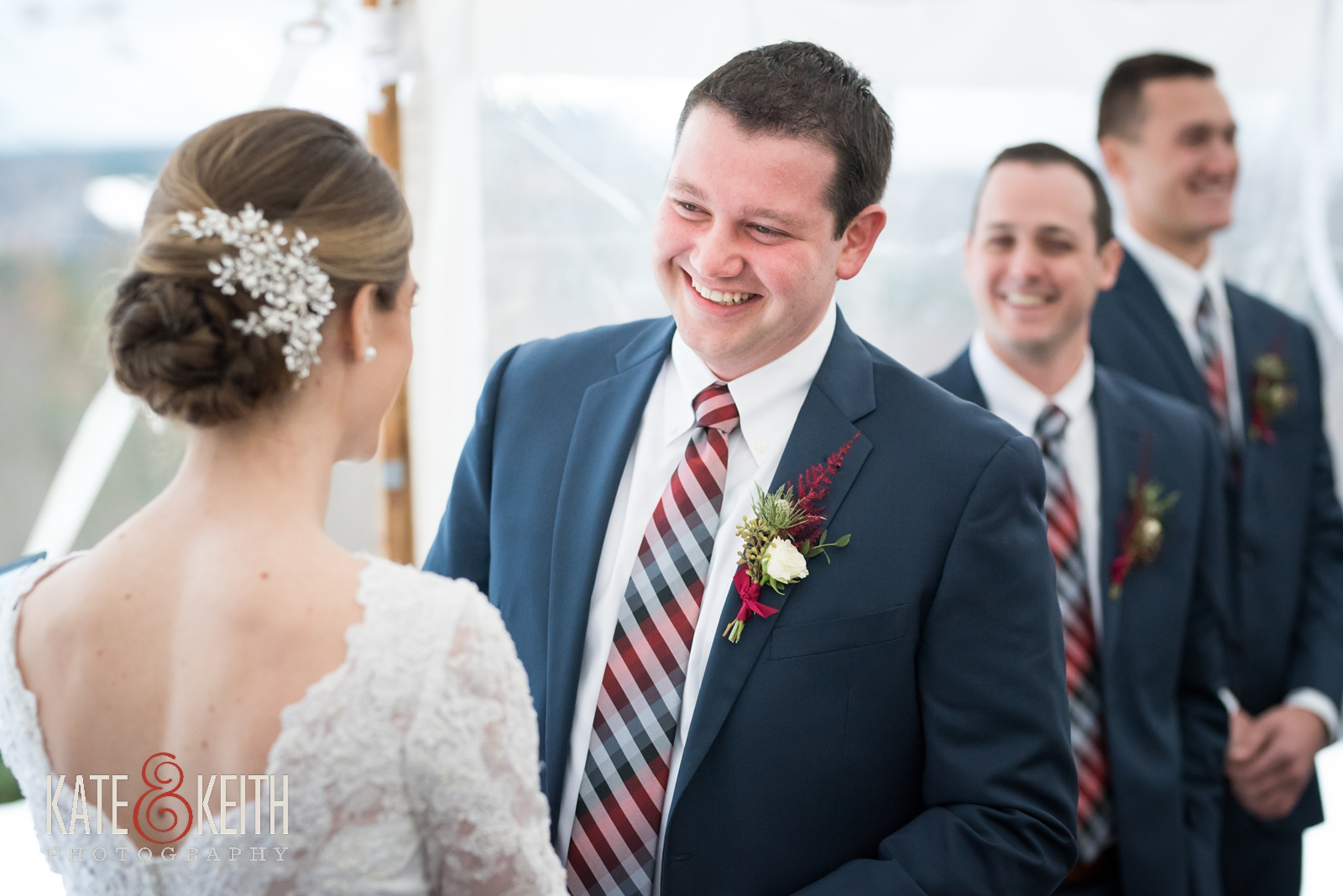 Barn on the Pemi, Winter wedding, New Hampshire, ceremony, laughing, wedding vows, bride and groom, groom laughing, tent, groomsmen