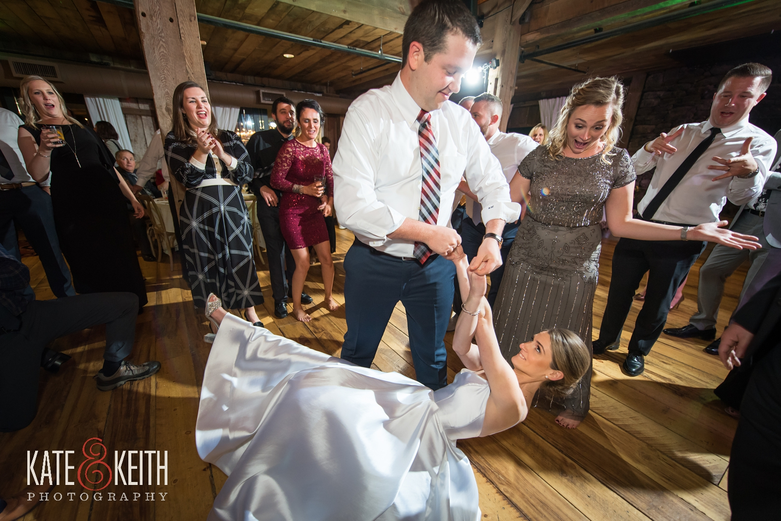 Barn on the Pemi winter wedding, bride dancing, Splash band, reception, groomsmen, barn dance floor, barn reception,bridesmaid, maid of honor, dance moves, wedding dancing, candid wedding photography