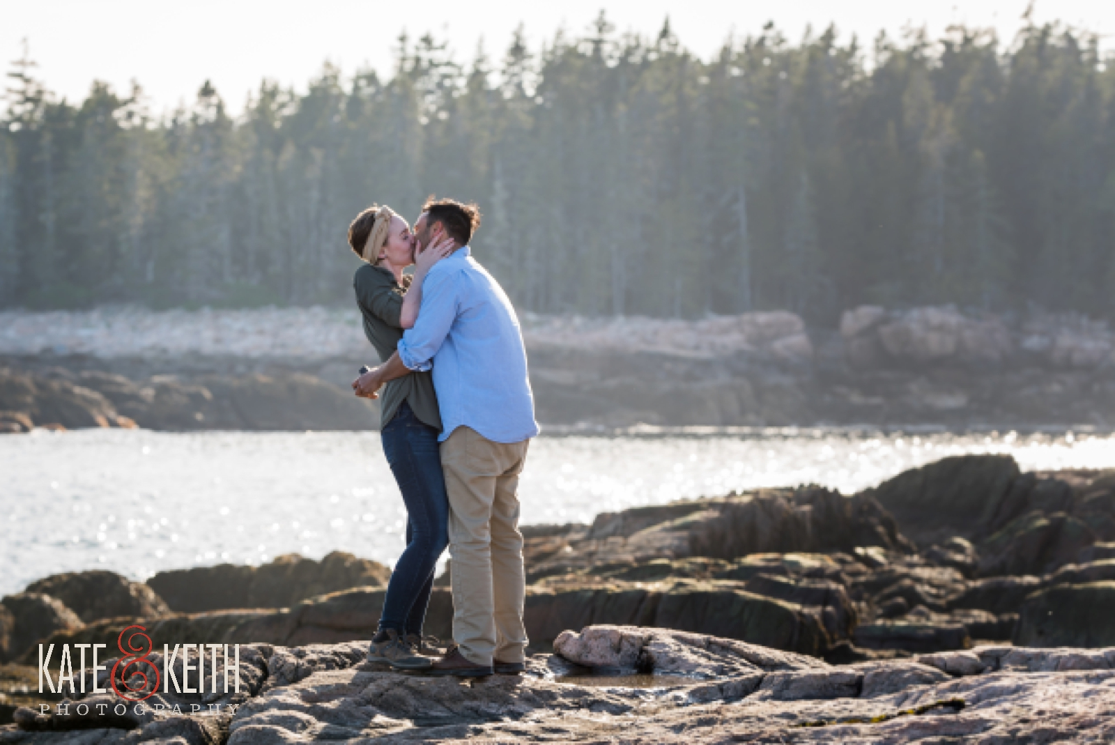 Surprise wedding proposal in Acadia National Park, engagement, water, ocean, sea, seaside, surprise proposal, surprise wedding proposal, rocky coast, Maine, sunset, Mount Desert Island, Bar Harbor
