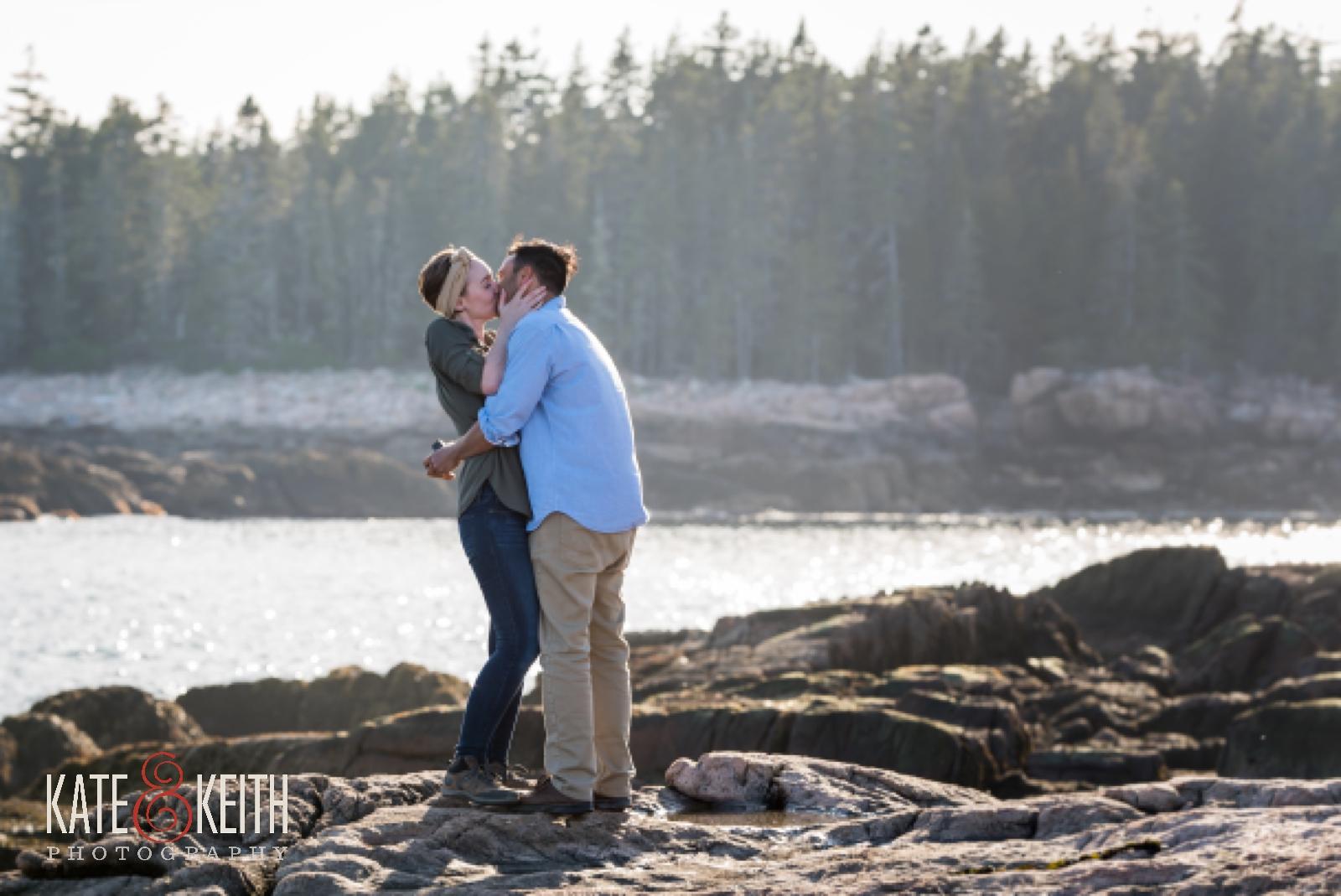 Surprise wedding proposal in Acadia National Park, engagement, water, ocean, sea, seaside, surprise proposal, surprise wedding proposal, rocky coast, Maine, sunset, Mount Desert Island, Bar Harbor