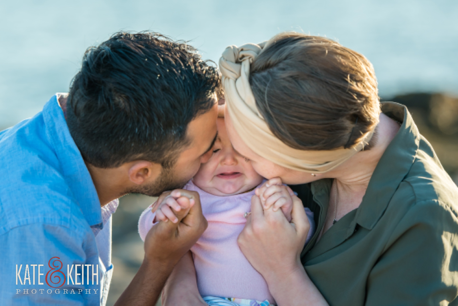 Getting engaged in Acadia National Park, Maine, Mount Desert Island, surprise proposal, proposal photos, wedding proposal, coast, ocean, seaside, young family, couple with baby, engagement photos