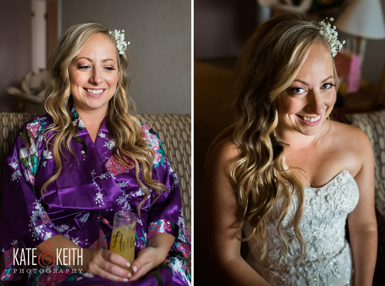 New Hampshire, Lakes Region, Lake Winnipesaukee, The Margate Resort, wedding, outdoor wedding, lakeside wedding, wedding gown, bride robe, bride kimono, bridal jewelry, bride getting ready, bridal portrait