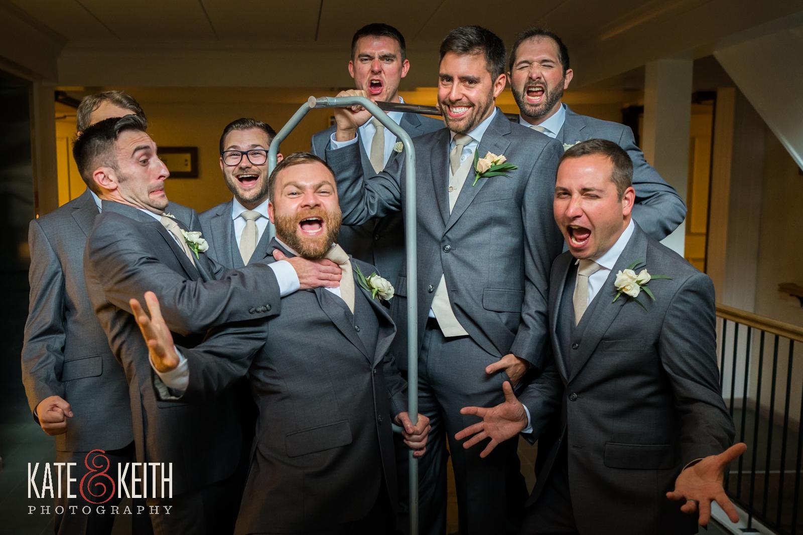 New Hampshire, Lakes Region, Lake Winnipesaukee, The Margate Resort, wedding, outdoor wedding, lakeside wedding, groom getting ready, groomsmen, groomsmens portrait, group photo, fun group photo, fun wedding portraits, silly wedding portraits